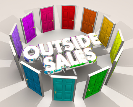 Outside Sales Selling Doors Finding New Customers 3d Illustration Archivio Fotografico