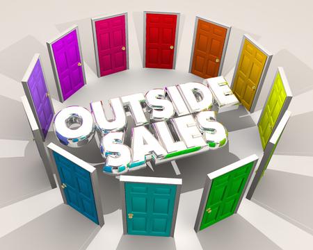 publicidad exterior: Ventas exteriores Ventas de puertas Encontrar nuevos clientes Ilustración 3d