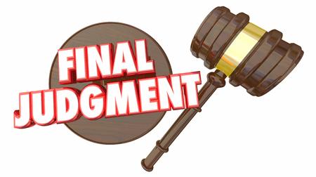 Final Judgment Decision Gavel Choice 3d Illustration Stock Photo