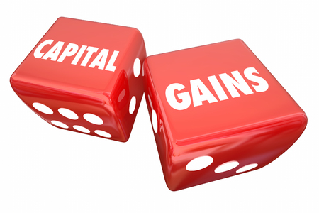 Capital Gains Rolling Dice Investment Income Earnings 3d Illustration Banco de Imagens