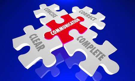Kommunikation Clear Concise Complete Rätt pussel 3d illustration