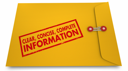 yellow: Clear Concise Complete Information Documents Envelope 3d Illustration