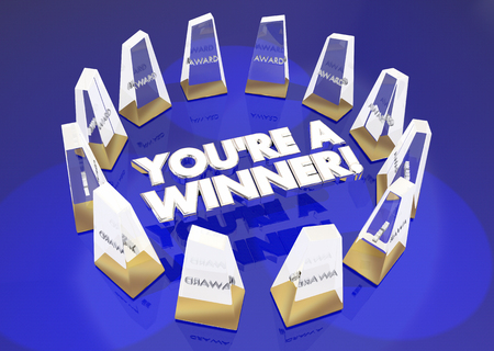 Youre a Winner Awards Recognition Appreciation 3d Illustration Stock Photo