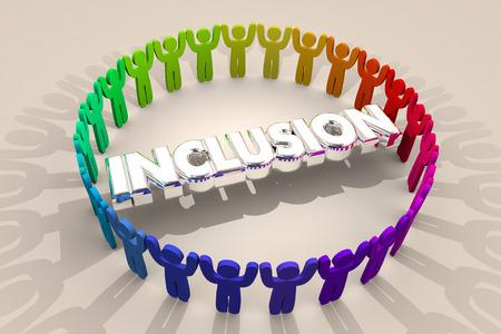 Inklusion Menschen zusammen enthalten Vielfalt Word 3d Illustration Standard-Bild