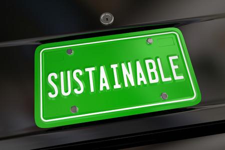 持続可能な車自動ナンバー プレート再生可能燃料エネルギー電力 3 d イラストレーション