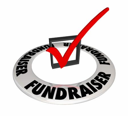 Fundraiser Check Box Mark Raise Money Non-Profit 3d Illustration