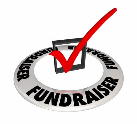 Fundraiser Check Box Mark Raise Money Non-Profit 3d Illustration Stock Photo