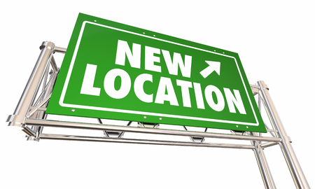 city background: New Location Freeway Sign Moved Business 3d Illustration