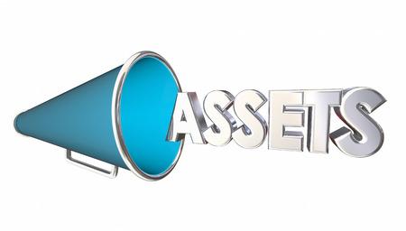 ownership equity: Assets Value Bullhorn Megaphone Word 3d Illustration Stock Photo