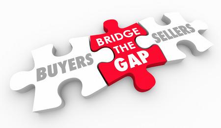 買い手売り手の顧客を見つけるの間のギャップをブリッジ 3 d イラストレーション