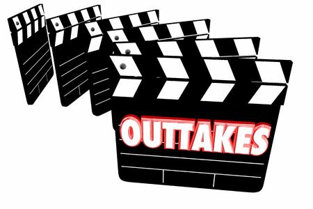 アウトテイク ミス大失策映画映画ビデオ クラッパー ボード 3 d イラストレーション