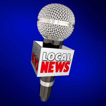 Local News Report Microphone on the Scene 3d Illustration Stock Photo