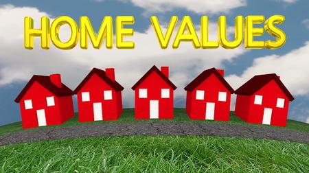 Home Values Houses For Sale Real Estate Estimates 3d Illustration