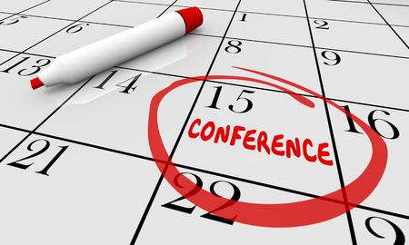 Conferentie Datum Dag Kalender Circled Planning Schema 3D Illustratie