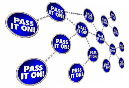 Pass it on Share Forward Connected Circles 3d Illustration Stock Photo
