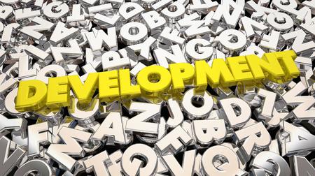 개발 과정 단어 편지 제품 3d 일러스트 개발