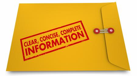 明確で簡潔な情報書類封筒 3 d イラストレーション 写真素材