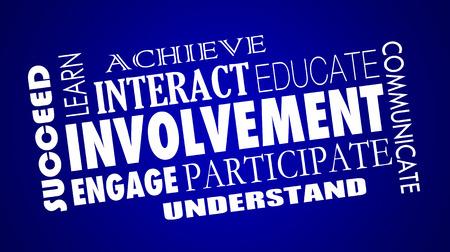 Involvement Engage Participate Interact Word Collage Illustration Banco de Imagens