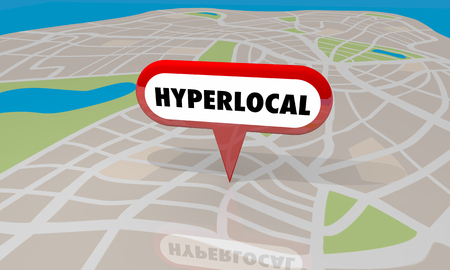 Hyperlocal 위치 커뮤니티지도 핀 워드 3D 일러스트 레이션