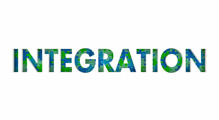 Integration Puzzle Pieces Integrate Diverse Groups Together 3d Illustration Stock Photo