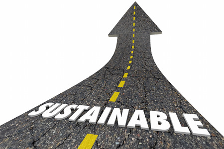 Sustainability Road Renewable Energy Power Fuel Choices 3d Illustration