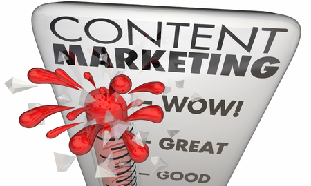 metrics: Content Marketing Thermometer Measure Results Level 3d Illustration Stock Photo