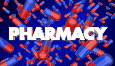 Pharmacy Prescription Medication Pills Capsules 3d Illustration Stock Photo