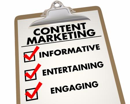 コンテンツのマーケティングの有益な楽しい魅力的なチェックリスト 3 d イラストレーション