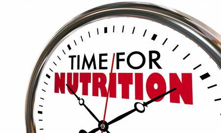 Time for Nutrition Eat Healthy Clock 3d Illustration