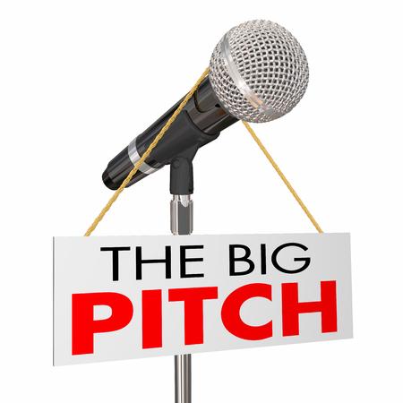 De Big Pitch Voorstel Presentatie Microfoon Teken 3D Illustratie Stockfoto