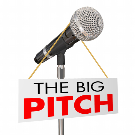 The Big Pitch Proposal Presentation Microphone Sign 3d Illustration