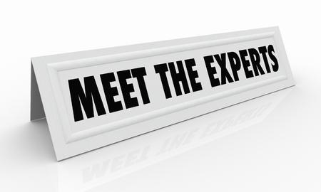 전문가를 만나십시오 이름 텐트 카드 전문가 3D 일러스트 레이션 스톡 콘텐츠