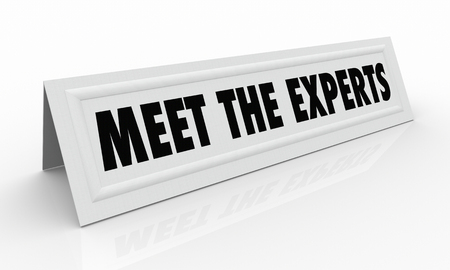 Meet the Experts Name Tent Card Professionals 3d Illustration Stok Fotoğraf - 85869363