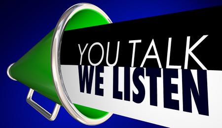 You Talk We Listen Communication Feedback Megaphone 3d Illustration Banco de Imagens