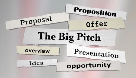 The Big Pitch Newspaper Headlines Proposal Offer 3d Illustration