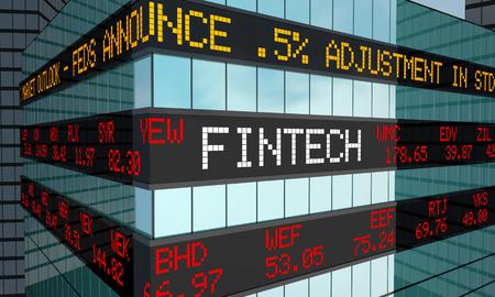 Fintech 주식 시장 시세 금융 서비스 3d 일러스트 스톡 콘텐츠