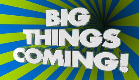 Grote Dingen die de Opwindende 3d Illustratie van het Aankondigingsnieuws komen