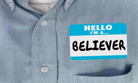 Believer Name Tag Shirt Faith Religion God 3d Illustration