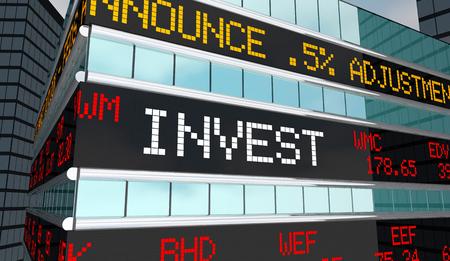 Invest Stock Market Ticker Stocks Brokerage Building 3d Illustration Imagens