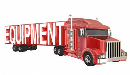 Equipment New Truck Trailer Transport Company 3d Illustration
