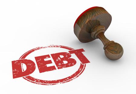 Debt Stamp Money Owed Finances Credit Trouble 3d Illustration Imagens