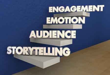 이야기 단계 청중 감정 참여 계단 3d 일러스트 스톡 콘텐츠