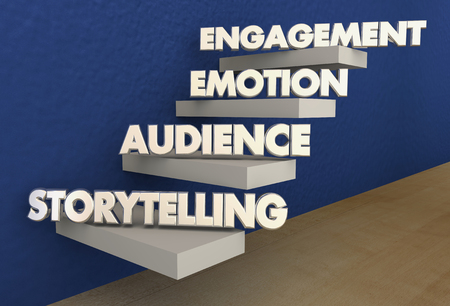 Storytelling Stappen Publiek Emotie Verloving Trappen 3d Illustratie