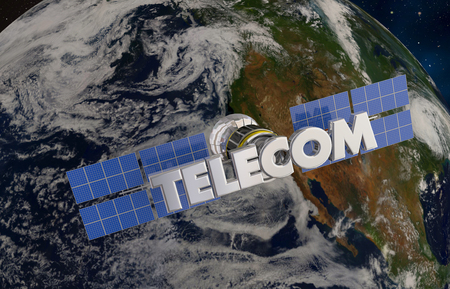 Telecommunication Satellite Orbiting Earth 3d Illustration - Elements of this image furnished by NASA Stock Photo