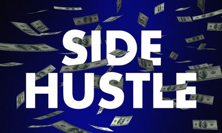 Side Hustle Second Inkomens Job Werk Money Words 3d Illustration Stockfoto