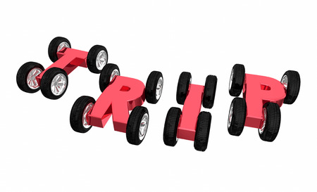 Trip Cars Letters Wheels Traveling Transportation 3d Illustration
