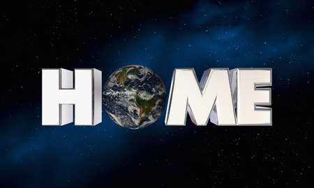 Home World Planet Earth in Word Environment 3d Illustration