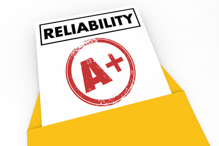 Reliability Report Card Grade Score Reliable 3d Illustration Stock Photo