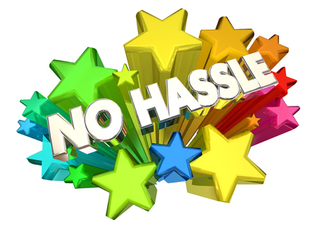uncomplicated: No Hassle Easy Care Free Words Stars 3d Illustration Stock Photo