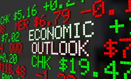 Economic Outlook Stock Market Ticker Financial Futures Forecast 3d Illustration Stockfoto